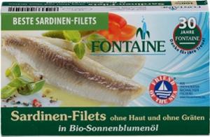 Sardinen ohne Haut u. Gräten in Bio-Sonnenblumenöl