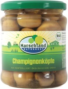 Bio-Champignon Köpfe 370 ml Gl. MARSCHLAND